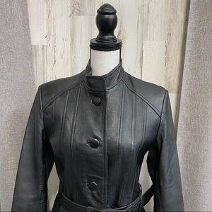 Vintage Leather Belted Coat - Chinese Sizing